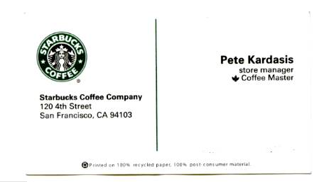 News items for Starbucks business cards